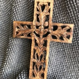 Hand carved wooden cross.